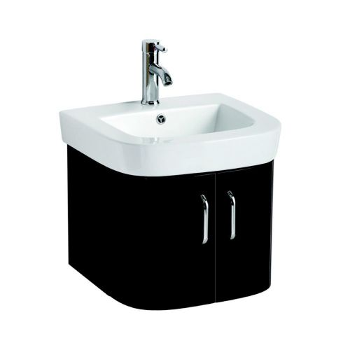 Vermont 500mm Black Gloss Wall Hung Cabinet & Basin - 1 Tap Hole